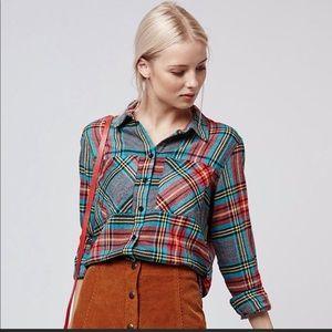 Topshop button down plaid shirt size 8